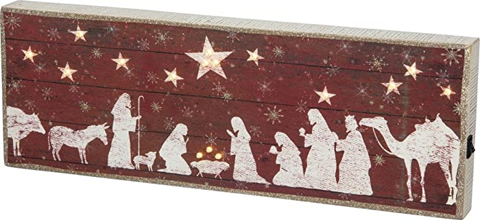 Primitives by Kathy Rustic Christmas Decorative-Signs, Nativity Scene