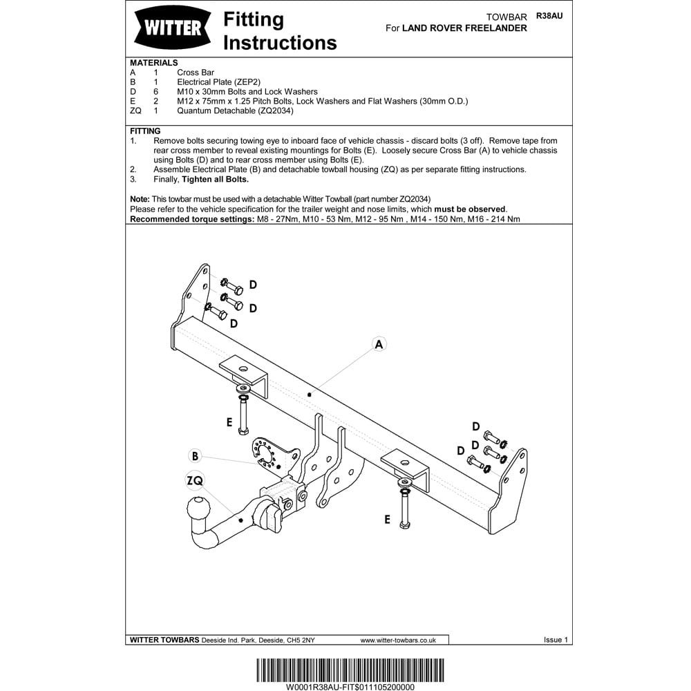 Land Rover Freelander Wiring Diagram Witter R38aq Detachable Swan Neck Tow Bar 1 1998 2007 Car Motorbike