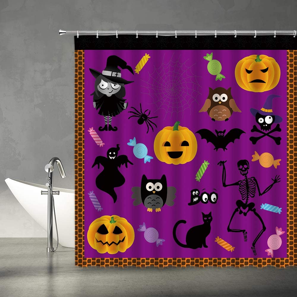 XZMAN Happy Halloween Shower Curtain Spooky Pumpkin Witch Black Cat Spider Owl Ghost Spider Web Cartoon Kids Orange Purple Black Polyester Fabric Bathroom Decor Set 70x70 Inches Include Hooks