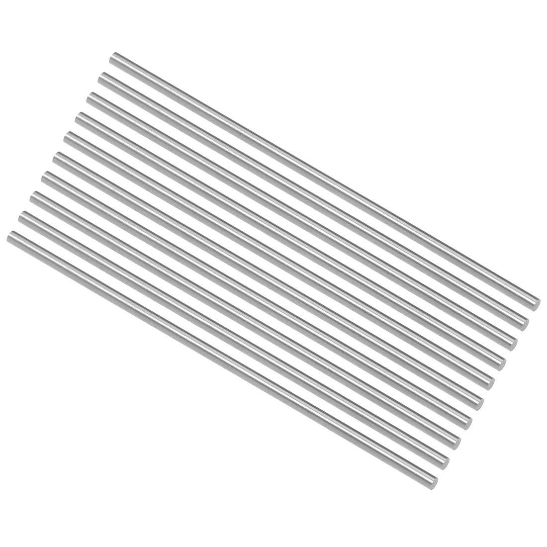 10 Pcs uxcell Round Rod 3mm Diameter 100mm Length HSS Lathe Bar Stock for Shaft Miniature Axle DIY Craft Tool