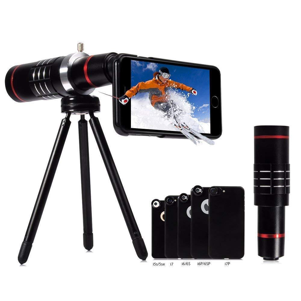 18X Telephoto Lens, Evershop Aluminum Telephoto Lens iPhone Lens Phone Camera Lens Kits with Tripod + Phone Cases for iPhone 8/7/ 7 Plus/ 6S/ 6S Plus/ 5S/SE/5 (Black)