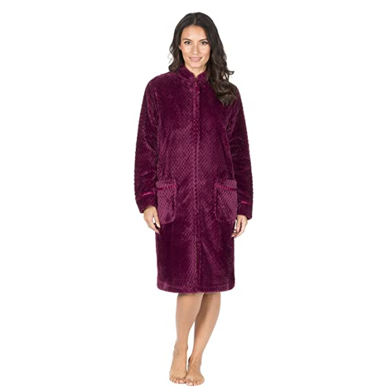 Forever Dreaming Ladies Waffle Fleece Dressing Gown Zip Up Fluffy