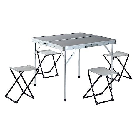 Mesa de Camping con 4 sillas Plegables - Aluminio - 85,5x80,5x69,5cm