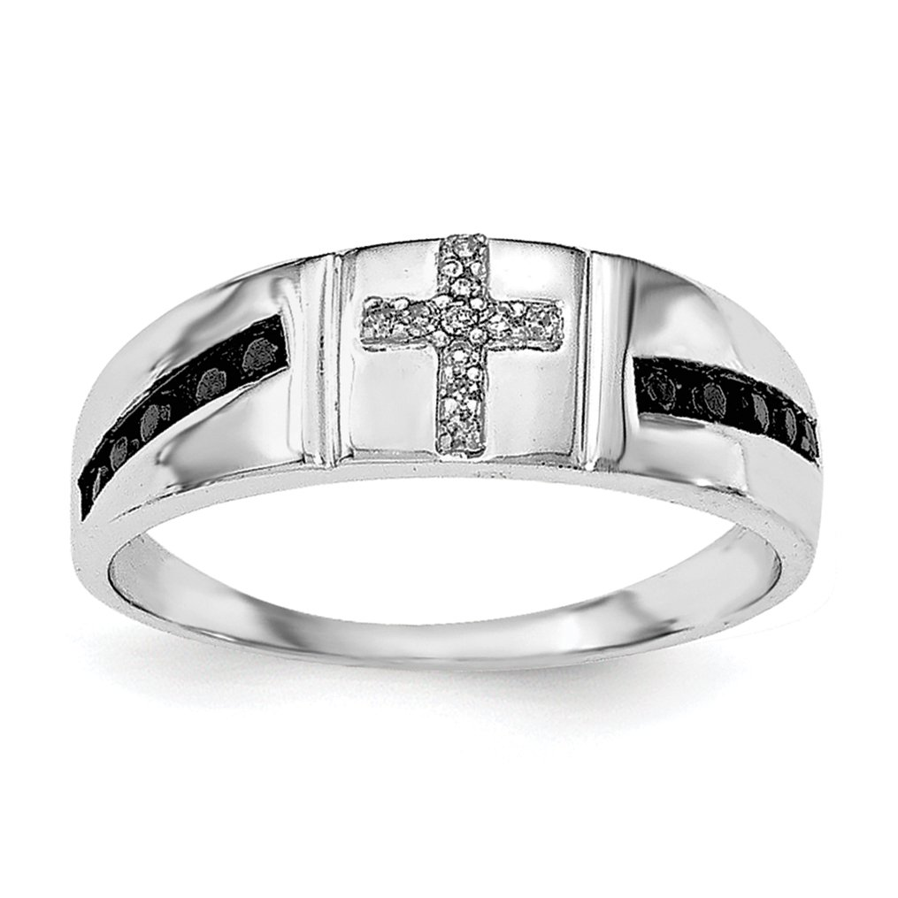 ICE CARATS 925 Sterling Silver Black White Diamond Cross Religious Mens Band Ring Size 11.00 Man Fine Jewelry Dad Mens Gift Set