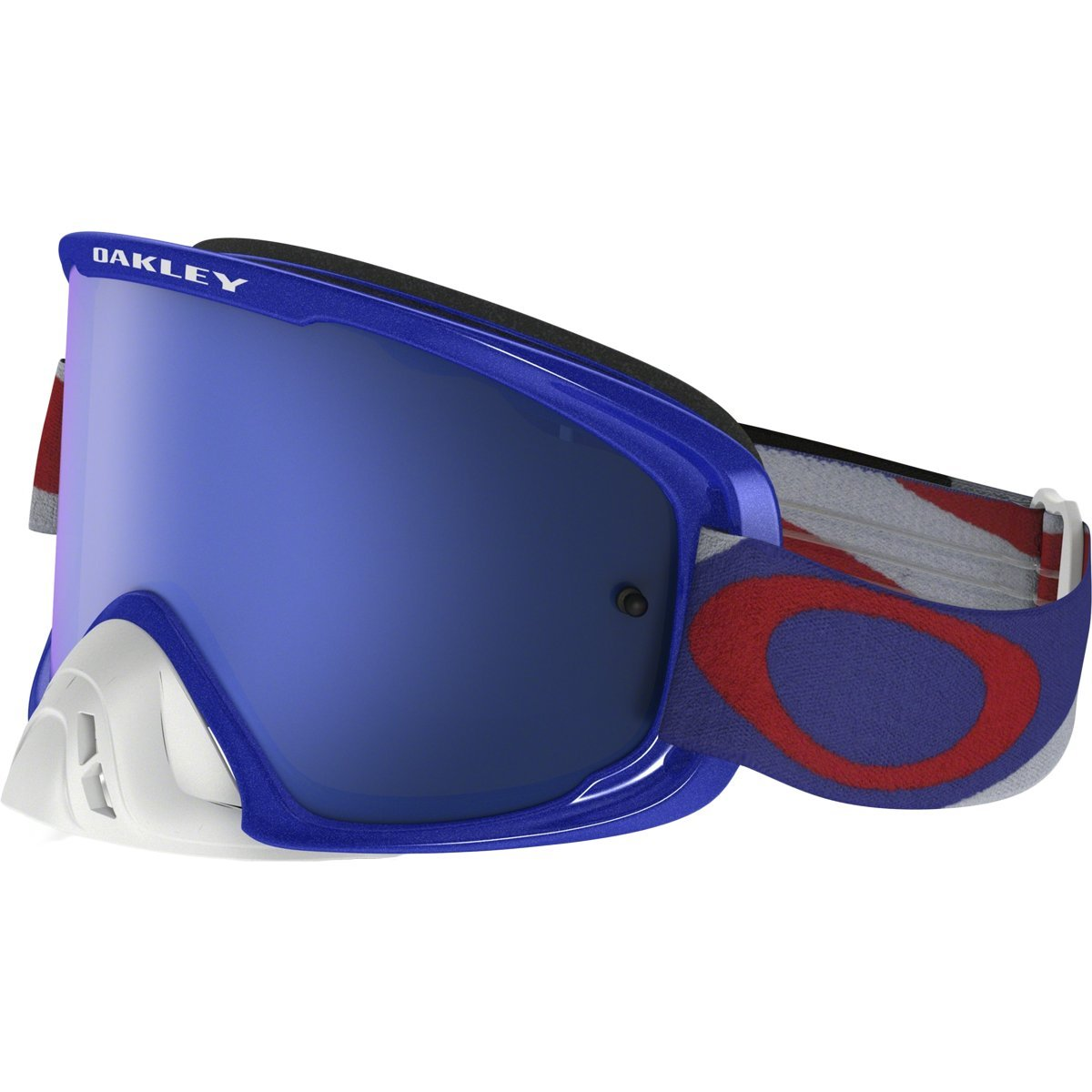 Oakley O2 MX Heritage Racer Adult Off-Road Motorcycle Goggles Eyewear - RWB/Black Ice & Clear/One Size Fits All