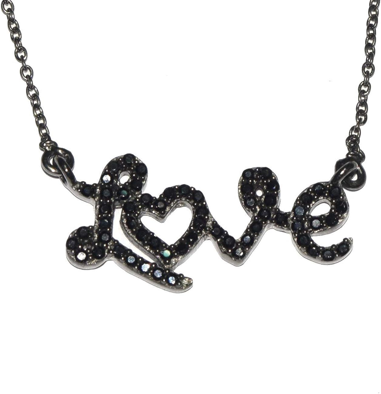 Shine Jewel 'amor'' collar de plata de ley 925 con espinela negra para mujer Redondo espinela Negro