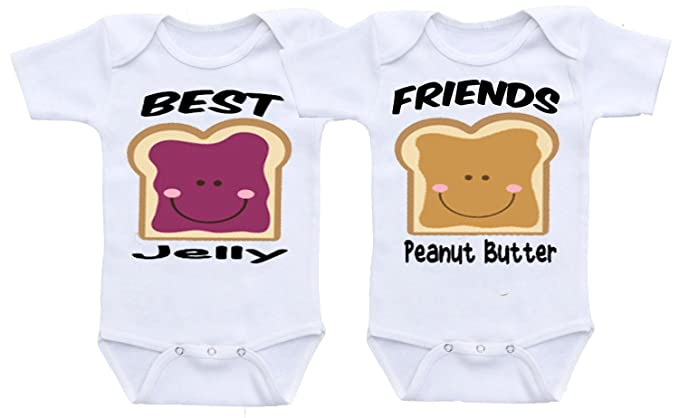 Manta. Peanut Butter & Jelly Best Friends Twins Funny Baby Onesie Bodysuit (0-
