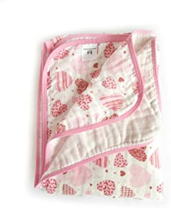 Miracle Baby Muslin Swaddle Blankets Large Cotton Receiving Blanket Nursing Cover 59''x 39'' (2 Layers, Pink)