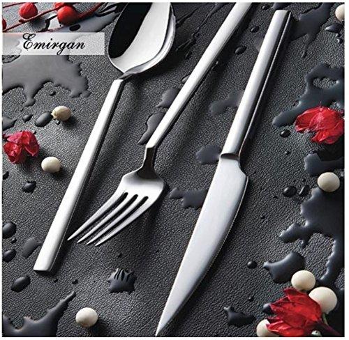 (Silverware set by Olinda Silverware set 20 pc Service for 4 18/10 Stainless Steel Flatware, Elegance)