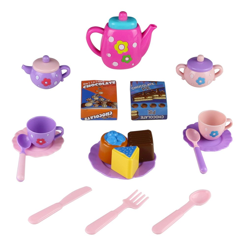 Tea Set Toy Teapot Pretend Role Play Food Kitchen Game for Kids Children 3 4 5 6 Year Old