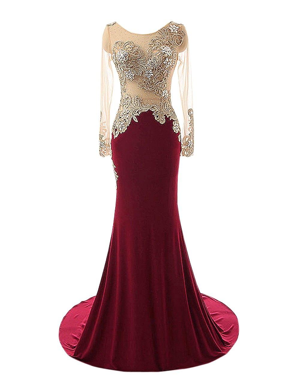 Burgundy Bess Bridal Women's Mermaid Beaded Sheer Long Sleeves Prom Evening Dresses