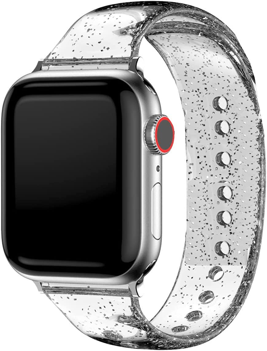 Glitter Bands Compatible with Watch SE Series 42mm 44mm for Women Girls,Sparkle Bling Soft Silicone Band Adjustable Buckle Replacement Strap Wristband Bracelet for iWatch 6/5/4/3/2/1-Silver