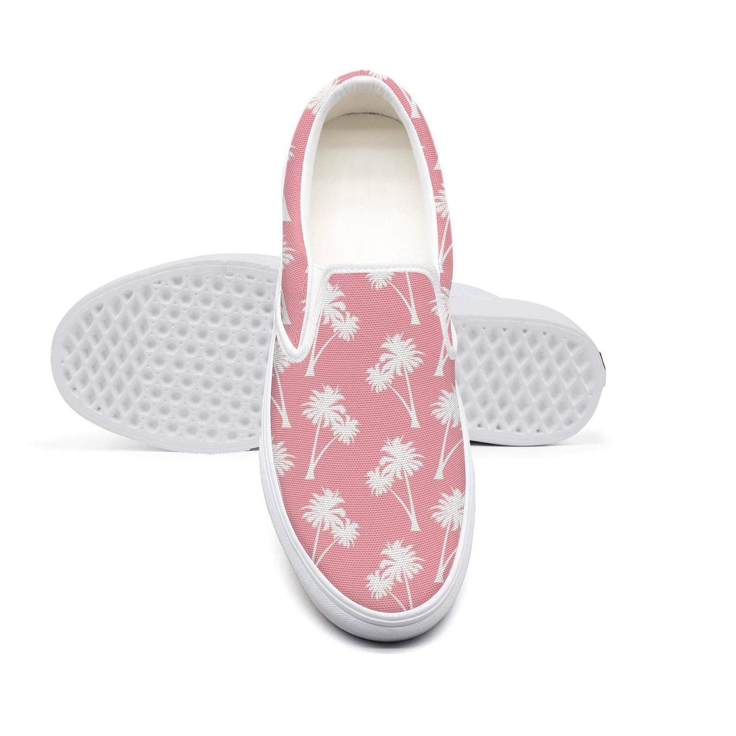 RivasPsm Womens Slip-on Loafer Double Coconut Palm Tree Pink Casual Sneaker Flat Walking Shoes Round Toe