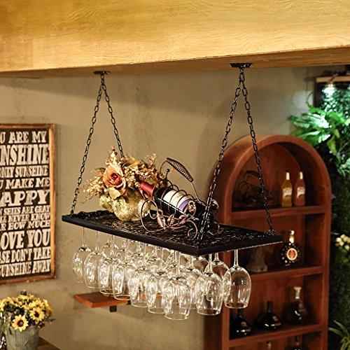 Hanging Red Wine Stemware Racks, Ceiling Mounted Hanging Wine Bottle Holder Metal Goblet Wine Glass Rack - Various (Color : Black,) (Color : A, Size : 8031cm)