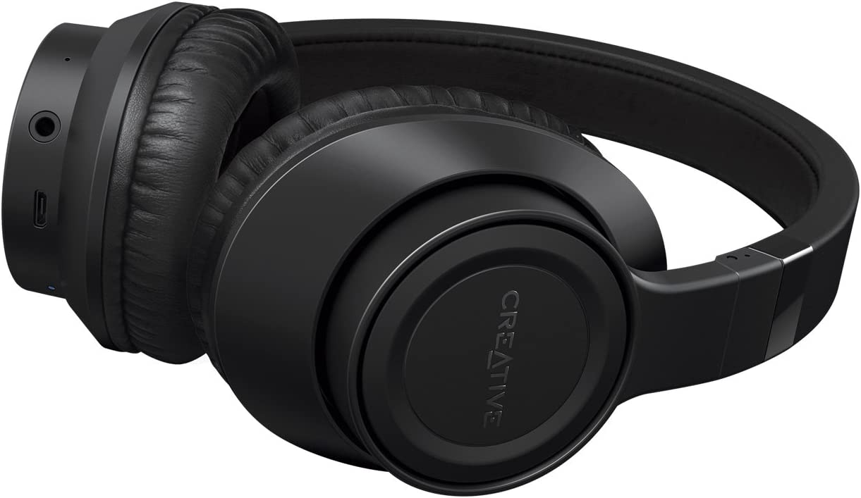 Creative Outlier Black Wireless Bluetooth Over-Ear Headphones, 13-Hour Playtime, High-Performance, Comfortable and Foldable Lightweight with Built-in Microphone and Music Control Black