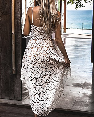 De Mangas Blanco Falda Elegante Mujer Cuello V Croché Encaje Sin Banquetes Cqwq85a4x