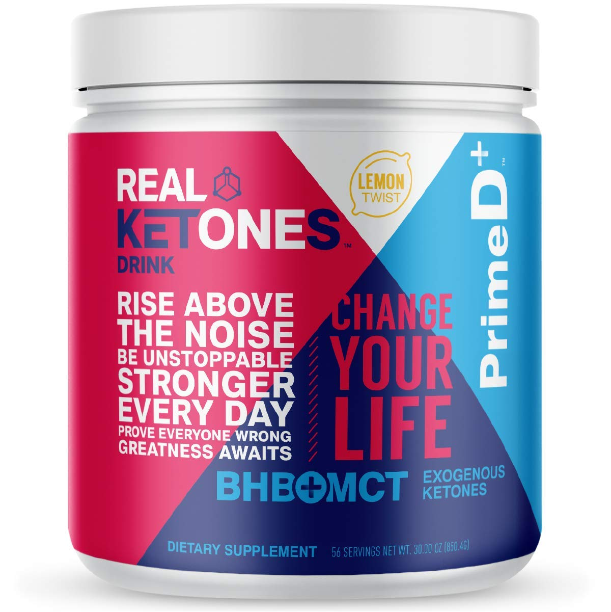 Real Ketones Prime D+ BHB (Beta-Hydroxybuterate) and MCT Exogenous Ketone Powder Supports Ketogenic Diet, Energy Boost, Mental Clarity (Lemon Twist) (56 Serving)