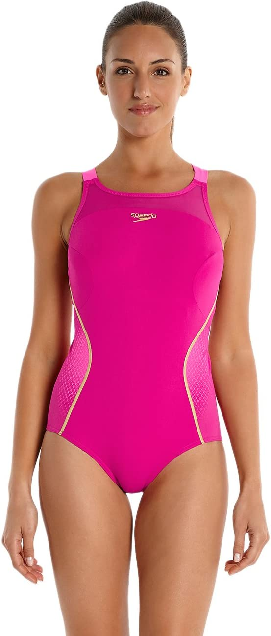 Speedo Women's Fit Pinnacle Xback Swimsuit MagentaFluorescent PinkGlobal Gold, Size 28