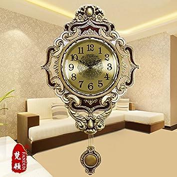 Silenciar Unión relojes antiguos Reloj de pared Reloj de latón de moda Salón grandes murales modernos relojes de cuarzo,20 pulgadas,635-Placa metálica: ...