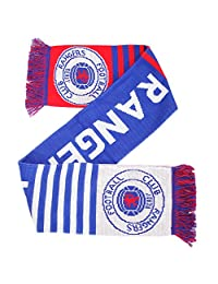 Rangers FC Official Knitted Football Crest Wordmark Scarf (One Size) (Blue/White/Red)