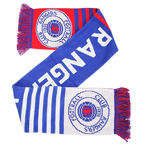 Rangers FC Official Knitted Football Crest Wordmark Scarf (One Size)  (Blue White b0b2dc986