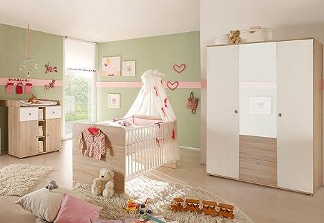 Kinderzimmer Komplett Set.Bega Babyzimmer Kinderzimmer Komplett Set Wiki 5 In Eiche Sonoma Weiß Komplettset Mit Grossem Kleiderschrank Mit 3 Türen Davon 1 Spiegeltür
