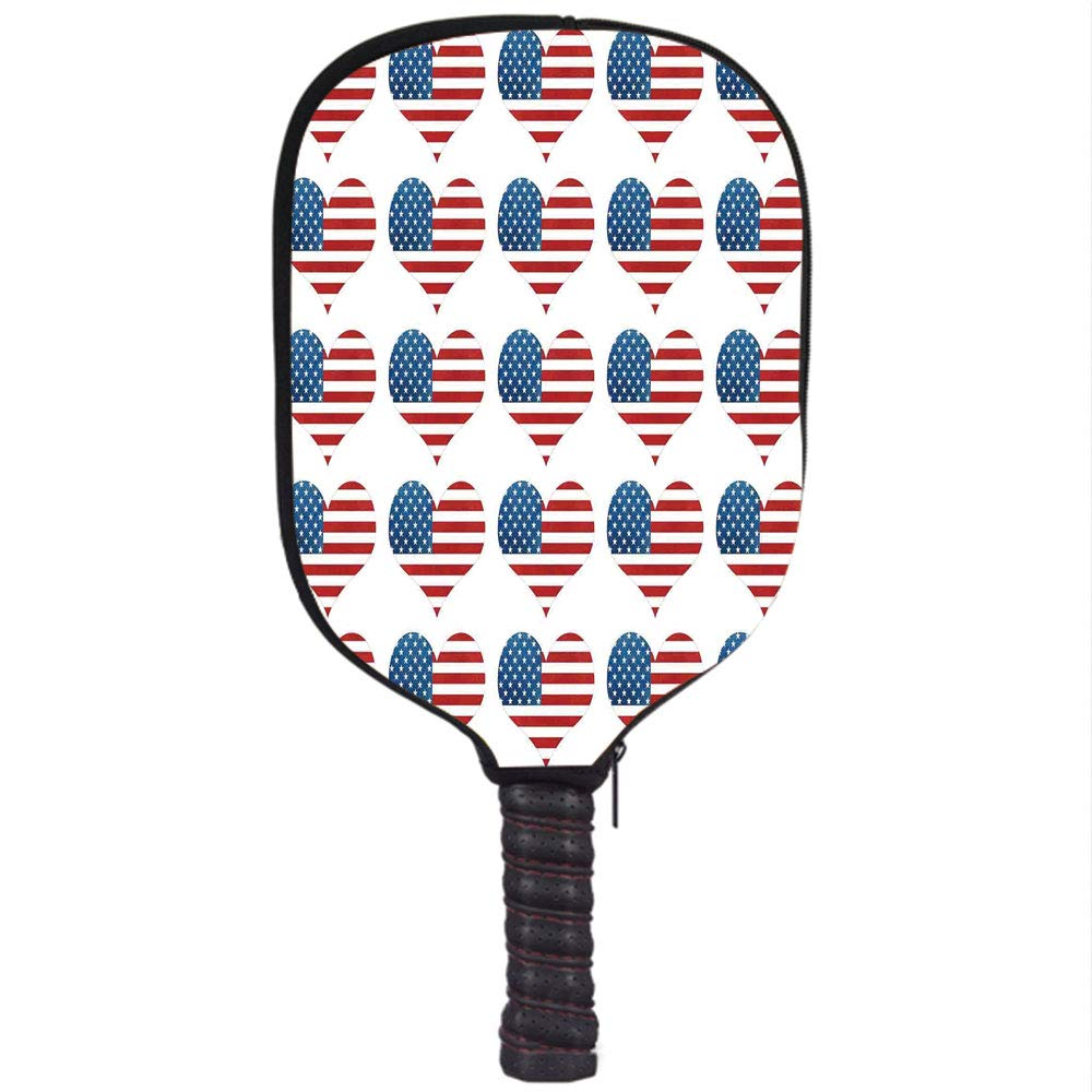 Neoprene Pickleball Paddle Racket Cover Case,American Flag Decor,Heart Figures with Flag Idol Patriot Pattern Modern American Day Graphic,White Red,Fit for ...