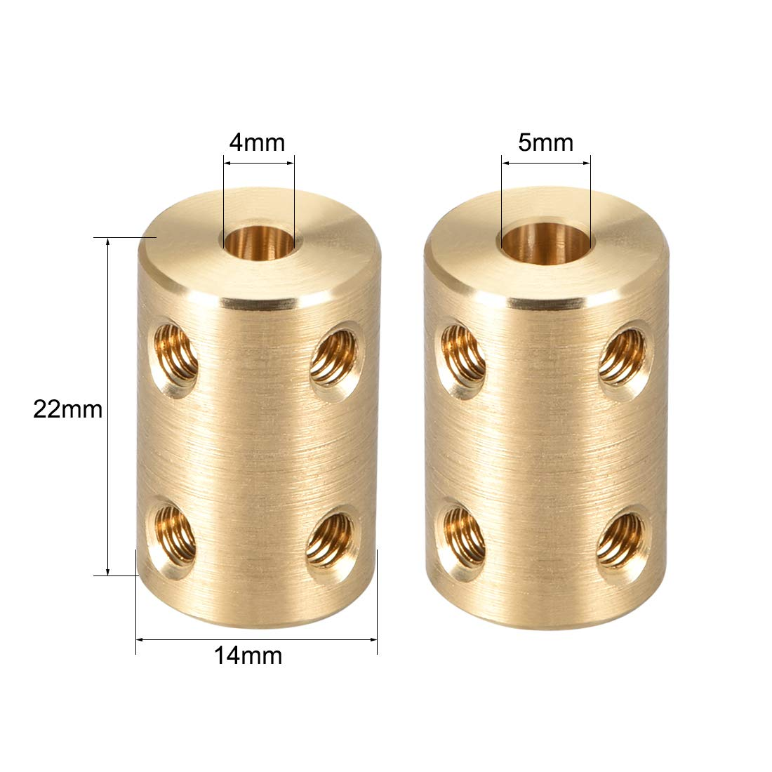 sourcing map 2stk Schaft Kupplung Rad Rigid Koppler 10mm zu 10mm L22xD16 Gold Ton