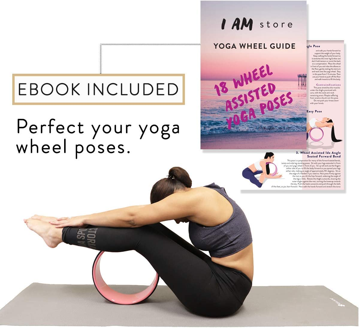 Dharma Cork Yoga Wheel Strong & Comfortable Accessory for Stretching & Flexibility by I AM Store ● Perfect Prop to improve Headstands & Backbends ● ...
