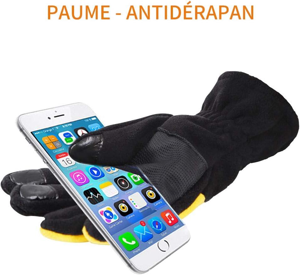 Gant Moto Chauffant Anti-d/érapant et Anti-Coupure pour V/élo P/êche Snowboard Camping Hewolf Gants dhiver Ski Homme//Femme