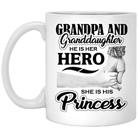 Designsify Granddaughter Coffee Mug Grandpa And He Is Her Hero She