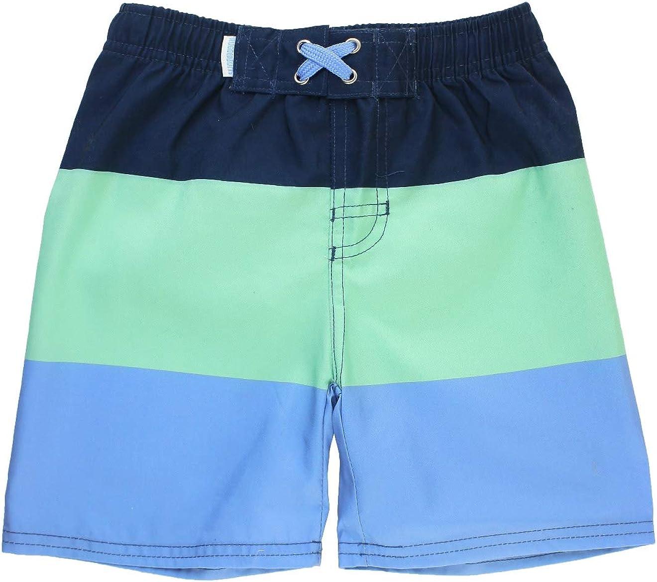 RuggedButts Little Boys Mint /& Blue Color Block Swim Trunks