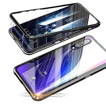 Alsoar Funda Compatible para Xiaomi MI 9 SE Adsorción Magnética 360 Grados Protección Carcasa Delantera y Trasera Vidrio Templado Metal Marco Delgada ...