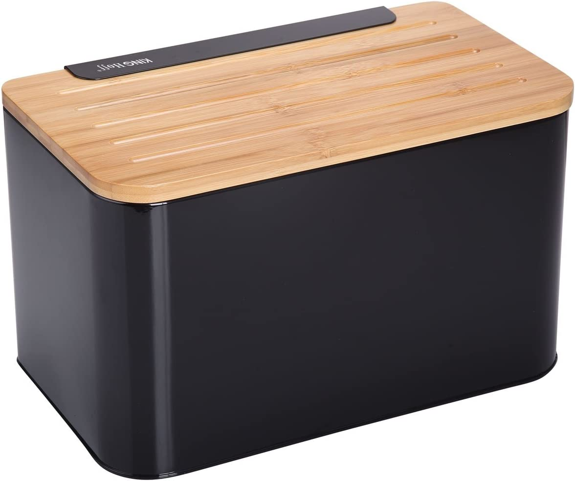 Caja de pan con tabla de cortar de bambú negro Pan Caja 35 x 20 x 21 cm): Amazon.es: Hogar