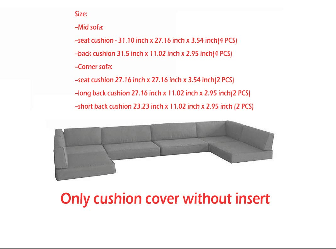 HTTH Outdoor Cushion Cover of Polar Aurora 7pcs Outdoor Patio Garden Furniture Sofa Rattan Set Cushion Cover (Gray) by HTTH (Image #1)