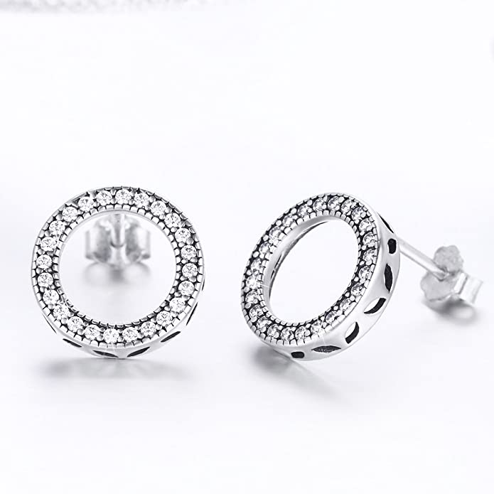 9c772377a Amazon.com: WOSTU Open Circle Stud Earring 925 Sterling Silver Cubic  Zirconia Earrings Women Girls Disc Stud Earrings Hypoallergenic Earrings  Piercing ...