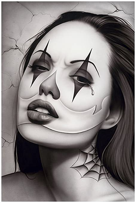 31062d617 Amazon.com: Tears of a Clown by Spider Latina Payasa Woman Tattoo ...
