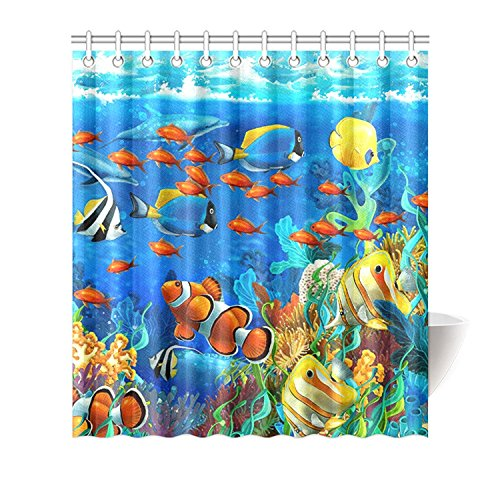 YEHO Art Painting Custom Blue Ocean Tropical Fish Coral Undersea World Waterproof Fabric Bathroom Shower Curtain Shower Rings Included -Best Visual Enjoyment For You - 66 x 72 Inch
