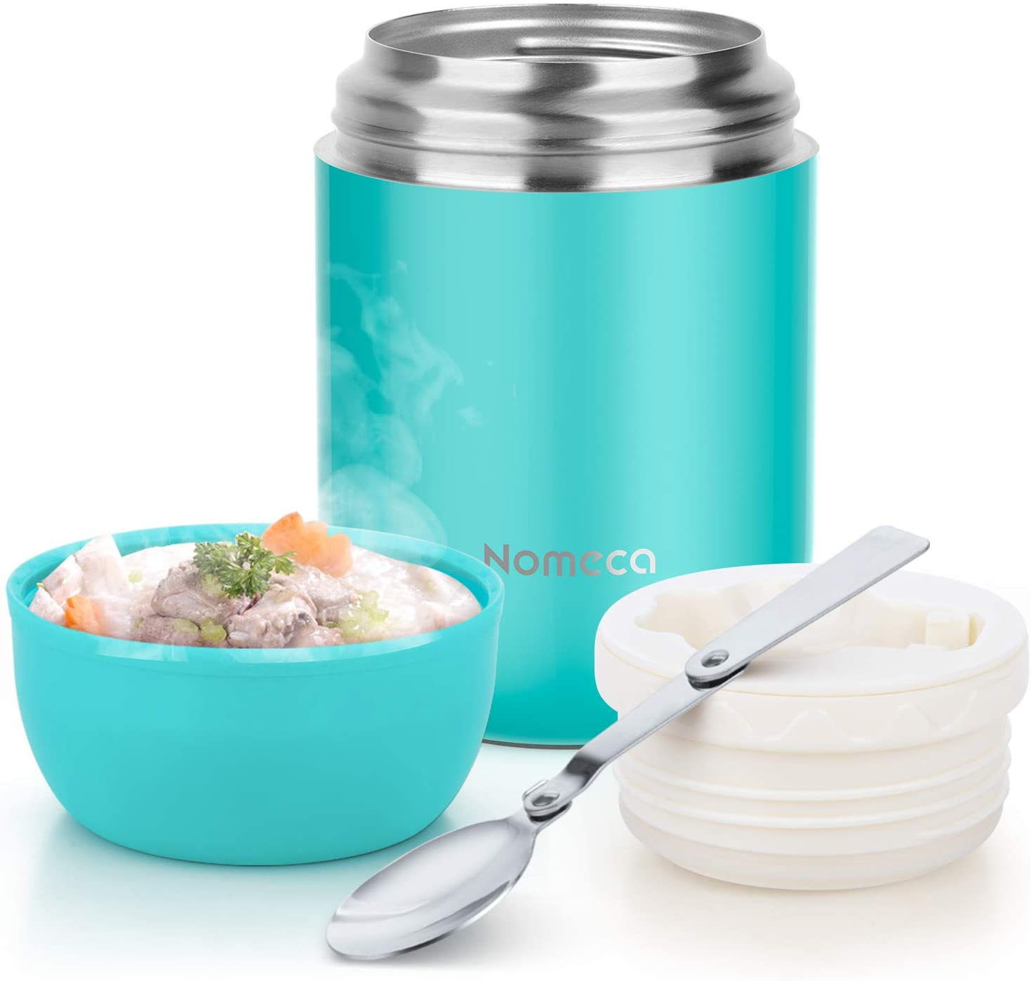 Insulated Food Jar Kids Thermoses - Wide Mouth thermal Soup Bowl With Spoon Nomeca 16Oz Stainless Steel Vacuum Food Flask Keep Food Liquid Hot Cold Thermoses for Kids Adult School Office Outdoor, Teal