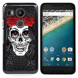 - Hippie Skull Peace Red Rose Devil - - Snap-On Rugged Hard Cover Case Funny HouseFOR LG Google Nexus 5X