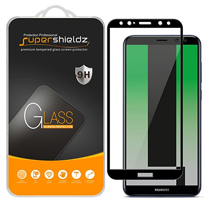 Supershieldz [2-Pack] for Huawei (Mate 10 lite) Tempered Glass Screen  Protector, [Full Screen Coverage] Anti-Scratch, Bubble Free, Lifetime