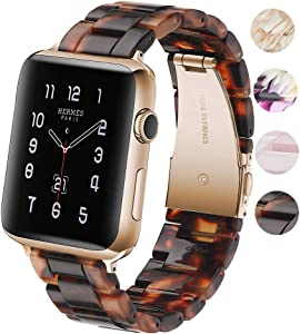 Fwheel Resin Watch Band Compatible with Apple Watch Band 38mm&40mm, Fashion Lightweight Resin Band with Stainless Steel Rose Gold Buckle Compatible with iWatch Series4 3 2 1 Edition Sport