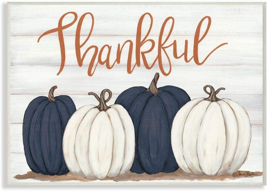 Stupell Industries Autumn Farm Pumpkin Harvest with Thankful Phrase Wall Art, 13 x 19, Off-White