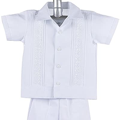 Boys Guayabera Shirt, Boys Baptism Shirt w/ Pants Set, Mexican Wedding Shirt, Cotton Guayaberas, style 910