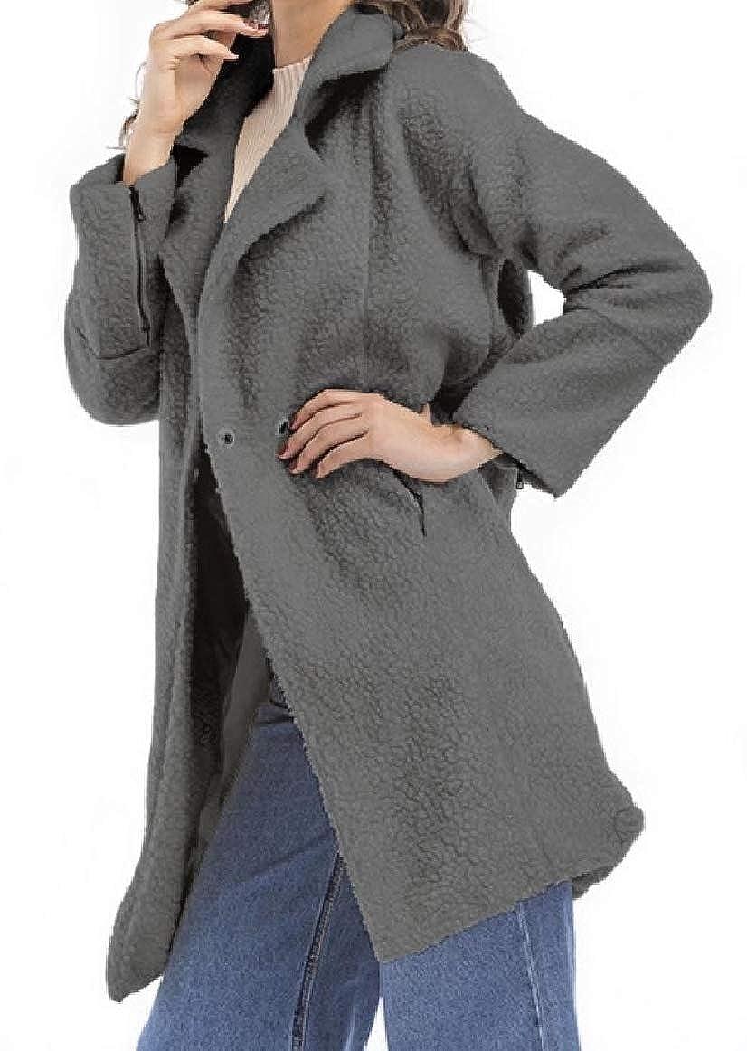 RomantcWomen Lapel Pocketed Over Sized Mid-Long Long Sleeve Coat Jacket