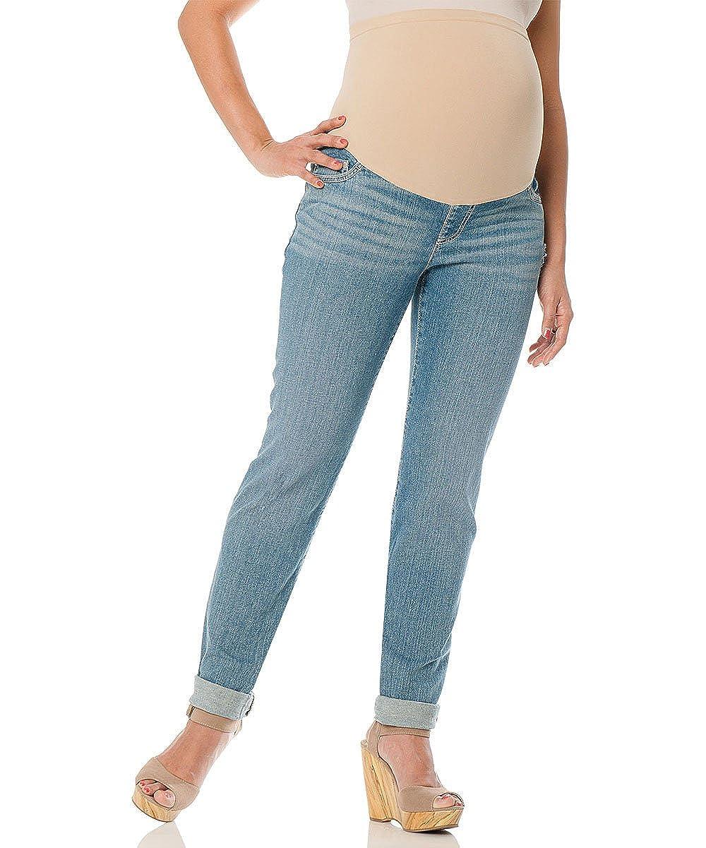 Roll Cuffed Maternity Skinny Jeans Denim Light Wash)