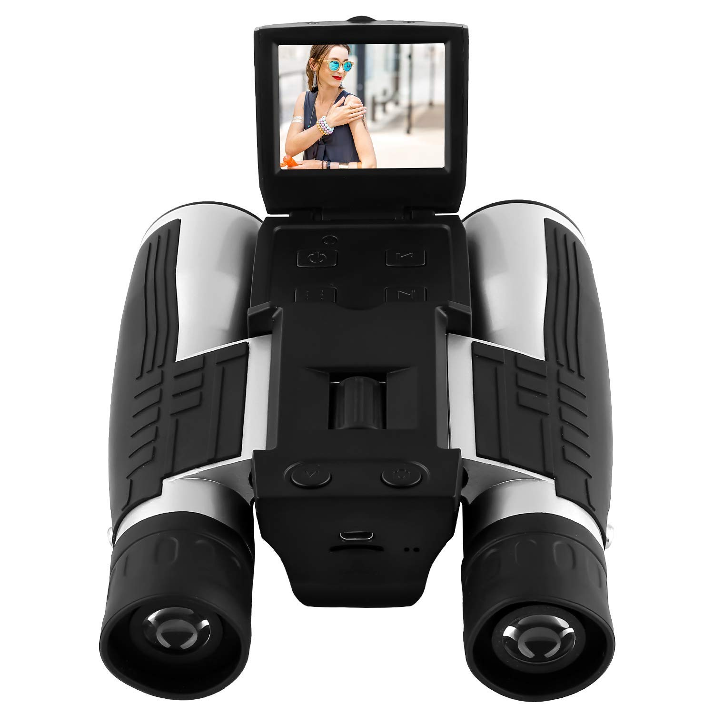 GordVE HD 1080P Digital Camera Spy Camera, 12X Puissant Zoom Binocular Camera Digital, Folding Prism Digital Binoculars with Camera Video