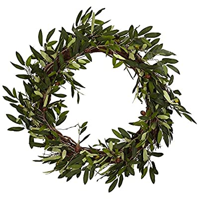 Nearly Natural 20 in. Olive Wreath - Dimensions: 20W x 20D x 20H in. Made of iron, plastic, and wood Splaying olive leaves with faux olive accents - living-room-decor, living-room, home-decor - 61RQ%2BXHW98L. SS400  -