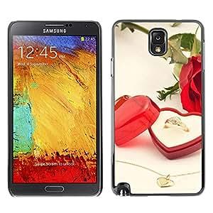 TopCaseStore / la caja del caucho duro de la cubierta de protección de la piel - Love Wedding Ring - Samsung Galaxy Note 3 N9000 N9002 N9005