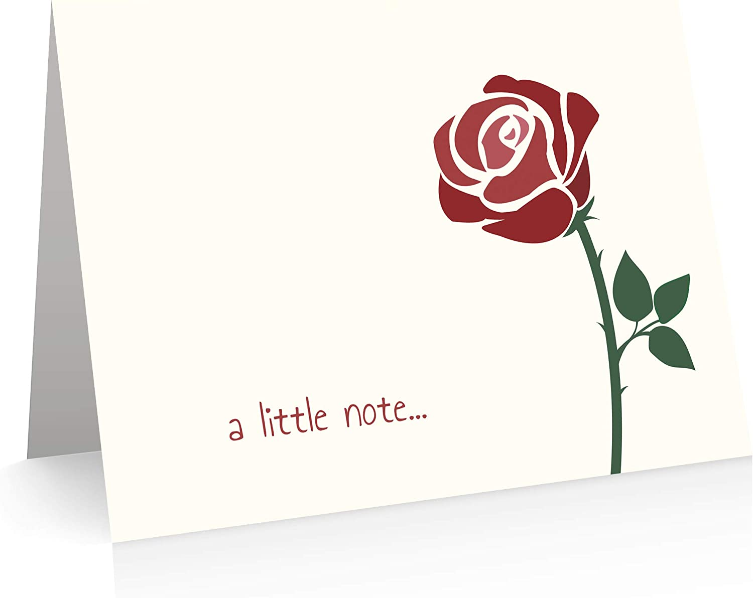 Rose Note Cards (12 Foldover Cards and Envelopes) Rose Thank You Cards